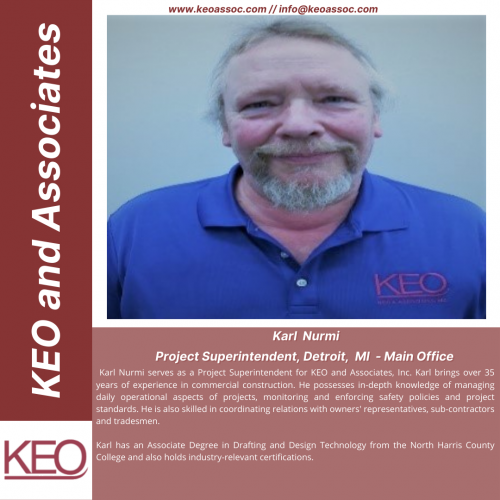 NEW HIRE ALERT! We are happy to welcome Karl Nurmi into the KEO Team! Congratulations on your new position Karl. Your skills and vast experience in the construction industry be a great asset us. KEO is a dynamic workplace and we look forward to taking this ride with you.  Welcome aboard.